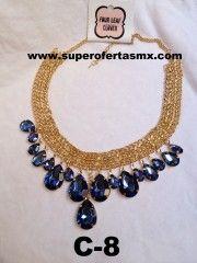 Collar con piedras en forma de gota color Azul y cadena dorada  Modelo C-8  Material: Piedra Sintetica Precio: $200