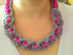 Necklace grey and pink by madebysonia on Etsy, $25.00