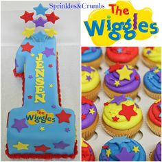 Number 1 shaped fondant wiggles cake, with matching wiggles cupcakes