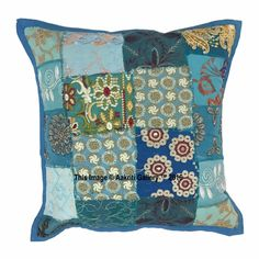 Indian Ethnic Handmade Kantha Sofa Chair use Cushion Covers Pillow Case Colourful Bedroom, Bedroom Colors, Handmade Cushion Covers, Handmade Cushions, Indian Ethnic, Sofa Chair, Ikat, Pillow Cases, Cotton Fabric