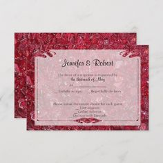 Shop Ruby Anniversary Response Card created by NoteableExpressions. 40th Wedding Anniversary, Anniversary Parties, Response Cards, No Response, Traditional Anniversary Gifts, Ruby Gemstone, Beautiful Textures, Red Background, Art Logo