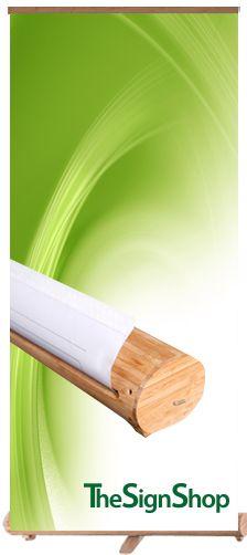Roll-up met bamboe omhulsel voor extra uitstraling.