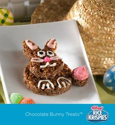 A fun spin on chocolate Easter bunnies – your kids can make them with Cocoa Krispies Treats™!