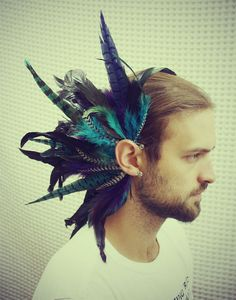 Handmade Large Feather Ear Cuff Feather Headpiece by Feather Headpiece, Feather Jewelry, Tribal Feather, Blue Feather, Burning Man, Tye Dye, Feather Symbolism, Feather Hair Pieces, Large Feathers