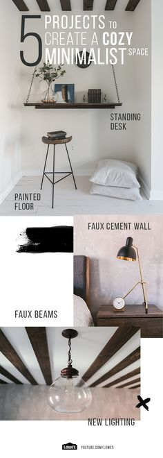 This bedroom transformation takes a turn towards industrial minimalism with faux concrete, floor paint, wooden ceiling beams and more. Explore more home décor at Lowe's!