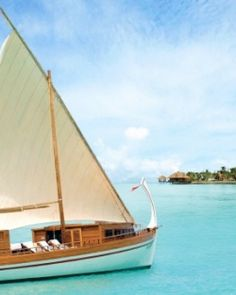 One Reethi Rah - Male, Maldives #Jetsetter  ~ Cruise the atoll and turquoise blue waters onboard the resort's dhoni, a traditional Maldivian sail boat!