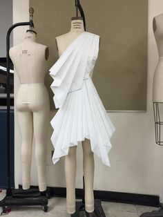 Conceptual draping with paper for my Origami collection -RW #draping #design #pleating #paper #origami