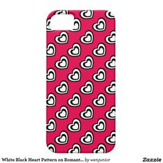White Black Heart Pattern on Romantic Pink iPhone 5 Case
