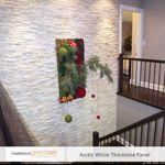 Feature Wall with White Stacked Stone contemporary-staircase Stone Accent Walls, Stone Veneer, Natural Stones, Color Pop, Backdrops, Family Room, Interior Decorating, House Design, Contemporary