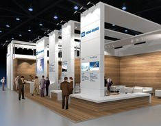 The contrast of wood grain and white is nice.  /   Exhibition stand KNORR-BREMSE
