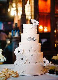 Intricate Icings Cake Design | Wedding Cakes - Gown Inspired wedding cake with hand piped embroidery, sugar gems, and gumpaste Anemone
