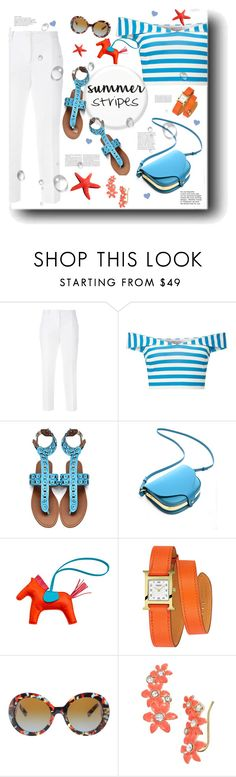 """""""Summer Stripes"""" by pomy22 ❤ liked on Polyvore featuring Dolce&Gabbana, Miss Selfridge, Hermès, Prada, Kate Spade, Summer and stripes"""