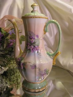 "Beautiful ""AMETHYST VIOLETS"" 1900's Hand Painted Limoges France Demitasse CHOCOLATE COCOA POT Antique Chocoliatiere HAND PAINTED Beautiful Gold Beading Decorative Work Fine Vintage Heirloom China Painting  ❤❤❤"