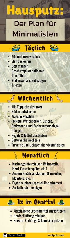 House cleaning: the cleaning plan for minimalists (infographic) - Hausputz: Der Putzplan für Minimalisten (Infografik) If that& minimalists, then what am I -
