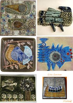 Lisa Larson was employed at Gustavsberg's porcelain factory between 1954 and During her time there she created several hundred different designs, many of which became design classics and soug… Ceramic Wall Art, Ceramic Birds, Glass Ceramic, Ceramic Clay, Tile Art, Ceramic Pottery, Pottery Art, Clay Tiles, Handmade Tiles