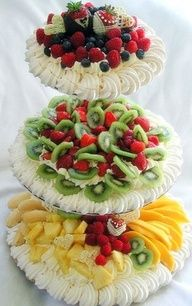 What a great idea!   Tiered server filled with fruit,. whipped cream for dipping piped around the edges