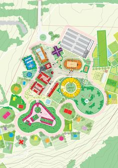 MVRDV . Smart School . Irkutsk (7) Site Plan Design, Map Design, Landscape And Urbanism, Landscape Design, Urban Design Diagram, Kindergarten Design, Public Space Design, Smart School, Project Presentation