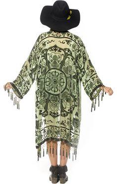 Gypset Medallion Velvet Burnout Tassel Kimono - Moss - Saltwater Gypsy #saltwatergypsy #kimono