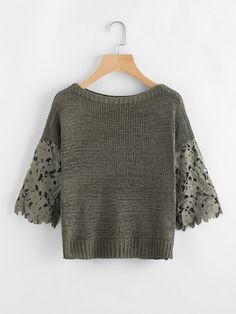 Green Hollow Out Crochet Sleeve Boat Neck Sweater