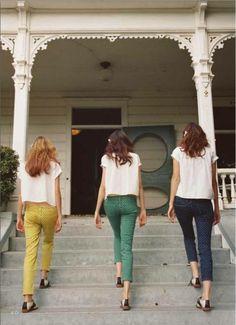 Pop Color Polka Dot Pants. adorable! #coloredjeans #polkadot #springfashion