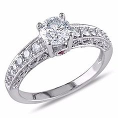 1 Ct D/VVS1 Vintage-Style Engagement Ring In 14K White Gold # Free Stud Earring by JewelryHub on Opensky