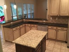 Absolute Black Granite Kitchen Surround with a New Venetian Gold Island - Kitchen Granite Countertops