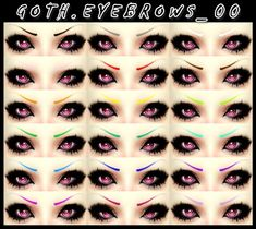 Hairstyles: Goth eyebrow from Decay Clown Sims Sims 4 Cc Kids Clothing, Sims 4 Mods Clothes, Sims Four, Sims 4 Mm, Punk Makeup, Anime Makeup, Goth Eyebrows, The Sims 4 Skin, Sims 4 Anime