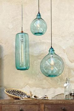 Two hang as bedside lights Salon Bleu Glass Demijohn Pendant.Two hang as bedside lights Salon Bleu Glass Demijohn Pendant. Beautiful coastal inspired glass lightsBudget Make-Over: A small, dingy hallway becomes a bright, Coastal Decor, Beach House Decor, Bedside Lighting, Home Lighting, Lights, Light, Glass, Pendant Lighting, Glass Lighting