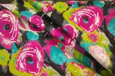 Cerise Impressionist Flower Design Polycotton