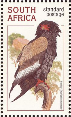 Stamps showing Bateleur Terathopius ecaudatus, with distribution map showing range Audubon Society, Kites, African Animals, Raptors, Hawks, Postage Stamps, Eagles, South Africa, Countries