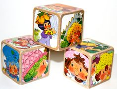 Strawberry Shortcake Children's Wooden Blocks  by Booksonblocks, $16.00
