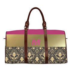 Damask in Gold and Black with Initial Waterproof Travel Bag/Large (Model Large Bags, Pouches, Travel Bags, Damask, Initials, Model, Gold, Accessories, Black