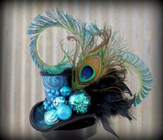 peacock hats | Peacock Holiday, Turquoise Mini Top Hat, Alice in Wonderland, Mad ...