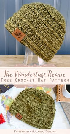 Wanderlust Beanie Free Crochet Hat Pattern - Wanderlust Beanie Free Crochet Hat Pattern Easy crochet stitches give this simple beanie its texture. This hat pattern is quick to crochet, great for winter, and works for men and for women. Mens Crochet Beanie, Crochet Adult Hat, Easy Crochet Hat, Easy Crochet Stitches, Bonnet Crochet, Crochet Diy, Crochet Scarves, Crochet Hat For Men, Crocheted Hats