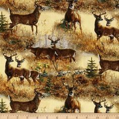 Wild Wings Walnut Grove Scenic Yellow from @fabricdotcom  Designed by Persis Clayton Weirs for Springs Creative Products Group, this cotton print is perfect for quilting, apparel and home decor accents. Colors include shades of brown, cream, and green.