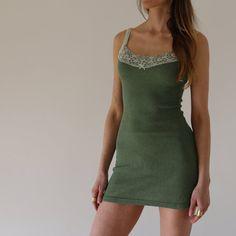 Dark Green Fitted Lace Slip by BrightonLace on Etsy