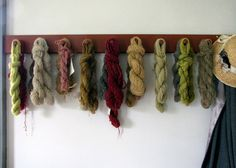 Using natural dyes from nature, of course:  For yellows ~ Coreopsis, Goldenrod, Onion skins, Dandelions.  For greens ~ Lily of the Valley, Queen Anne's Lace, Rhododendron, Spinach, Nettles.  For purples or lavenders ~ Blackberries, Elderberries, Mulberries  For reds ~ Hibiscus, Sumac.  For pinks ~ Strawberries, Cherries, Roses.  For browns ~ Acorns, Marigold.  Build a fire under dye kettle in last photo and boil away!