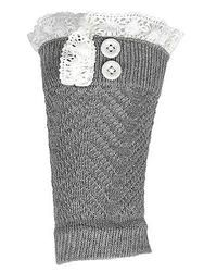 Crochet and Lace Button Boot Cuff- Charcoal www.mycrickets.com