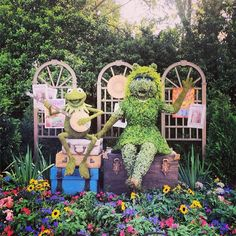 Look who we found! Kermit and Miss Piggy! #EpcotinSpring #FrogFamilyVacation