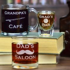 Father's Day gift idea: stock a home bar or kitchen with these customizable engraved beer, wine, coffee, or cocktail glasses