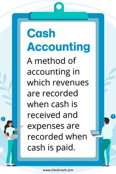 Cash Accounting: A Method of accounting in which revenues are recorded when cash is received and expenses are recorded when cash is paid. Payroll Accounting, Small Business Accounting Software, Accounting Classes, Accounting Basics, Accounting Principles, Accounting And Finance, Accounting Services, Business Education, Online Bookkeeping