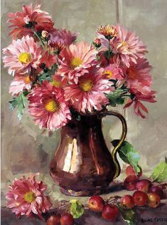 Chrysanthemums in a Copper Jug, by Anne Cotterill ~ Greetings Card published by Mill House Fine Art . Easy Paintings, Nature Paintings, Acrylic Paintings, Your Paintings, Plant Drawing, Painting & Drawing, Oil Painting Flowers, Flower Paintings, Still Life Art
