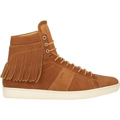Saint Laurent Fringe SL/16H Court Classic Sneakers ($795) ❤ liked on Polyvore featuring mens, men's shoes, men's sneakers and nude