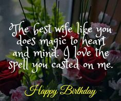 The best wife like you does magic to heart and mind. I love the spell you casted on me. Birthday Wishes For Wife, Romantic Birthday Wishes, Make Birthday Cake, Wife Birthday, Happy Birthday Me, You Are My Drug, Just You And Me, Perfect Wife, Good Wife