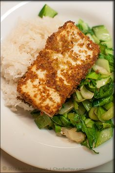 Wasabi Pea Encrusted Tofu Steaks with Sautéed Baby Bok Choy, and Thai Sticky Rice - Vegan