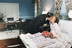 Nancy Reagan gets a kiss from her husband, President Ronald Reagan after having a mastectomy at Bethesda Naval Hospital, Maryland, 1987