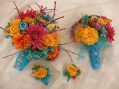 22 pc. set Beach Tropical Wedding Flowers (1) Bride's Bouquet (4) Maid (10) Bouts (6) Corsage. Yellow Purple Turquoise Blue Orange. Starfish on Etsy, $199.00