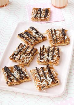 Caramel-Chocolate Cookie Bars -- Easy and delicious, this recipe is ready to enjoy in just 20 minutes time and combines two of your favorite dessert flavors--caramel and chocolate.