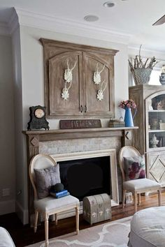How to turn that big ugly hole over the mantel into a clever storage cabinet.