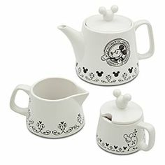 Disney Mickey Mouse Tea Set | Disney StoreMickey Mouse Tea Set - Mickey will be happy to pour for your guests from his charming tea service, including teapot with lid, plus sugar bowl and creamer with lid that fit together in a stackable display.  I NEED this!